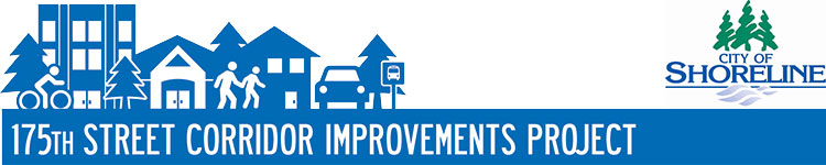 175th Street Corridor Improvements Project logo showing a cyclist, two people walking and a parked car in front of a series of buildings and trees on the left. To the right is the City of Shoreline logo