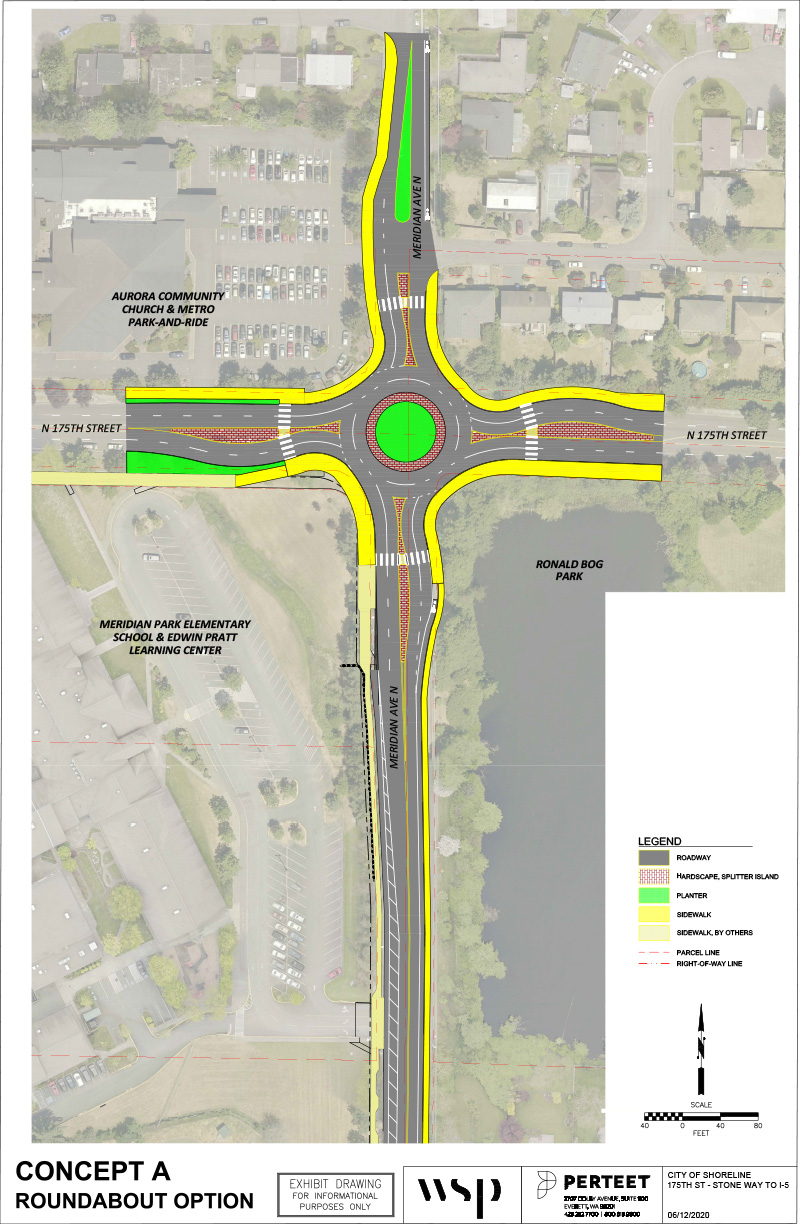 Roundabout option map at the intersection of North 175th Street and Meridian Ave North. Map shows the location of the roadway, hardscape, center island, planters, sidewalks, sidewalk by others, parcel lines and the right-of-way line. For more specific information please email ljohansen@shorelinewa.gov or call 2068012489
