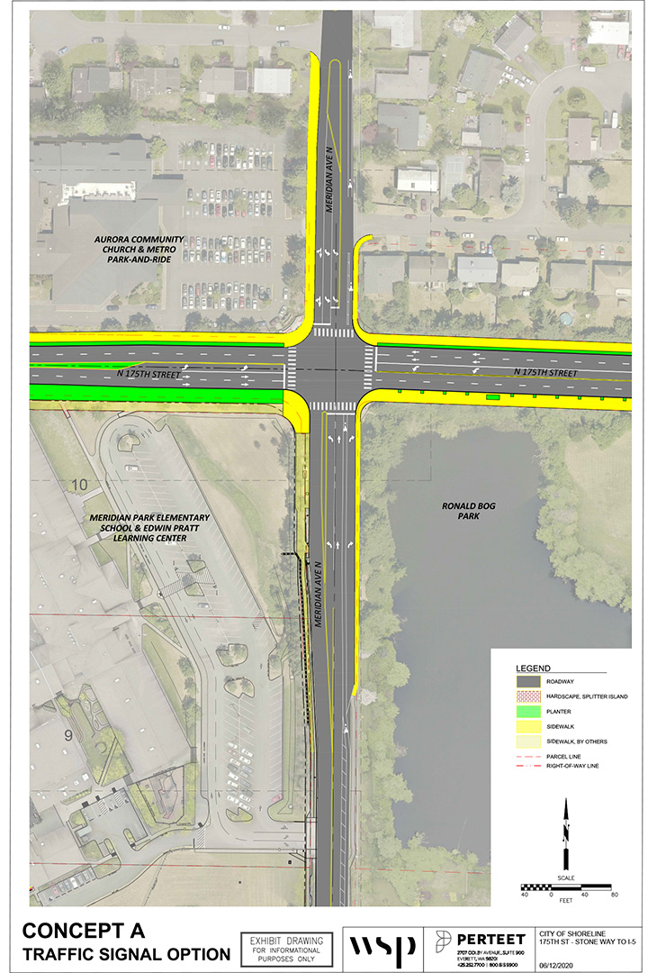 Signalized intersection option map at the intersection of North 175th Street and Meridian Ave North. Map shows the location of the roadway, hardscape, center island, planters, sidewalks, sidewalk by others, parcel lines and the right-of-way line. For more specific information please email ljohansen@shorelinewa.gov or call 2068012489