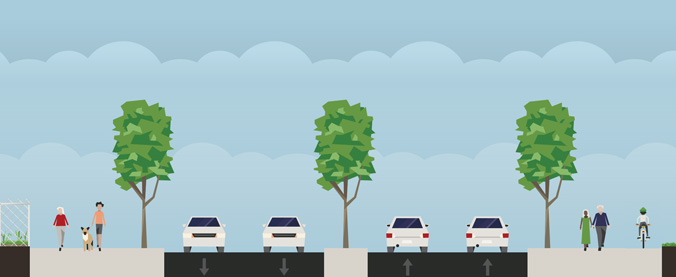 Illustration of 175th Street. Wide shared-used paths planted with trees line each side of the street with enough space for people and bikes. A median separates eastbound and westbound traffic which is also planted with a tree. On either side of the meridian there are two lanes for both eastbound and westbound traffic.